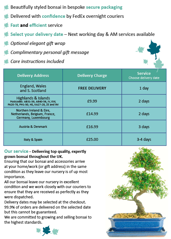 Bonsai Direct delivery rates